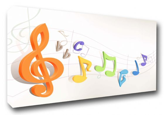 Colourful Musical Notes Abstract Art Canvas
